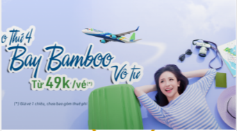 Thứ 4 Bay Bamboo giá chỉ từ 49K/vé