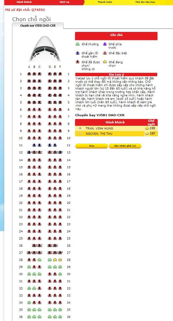 Check in trực tuyến Vietjet Air - Chọn chỗ ngồi