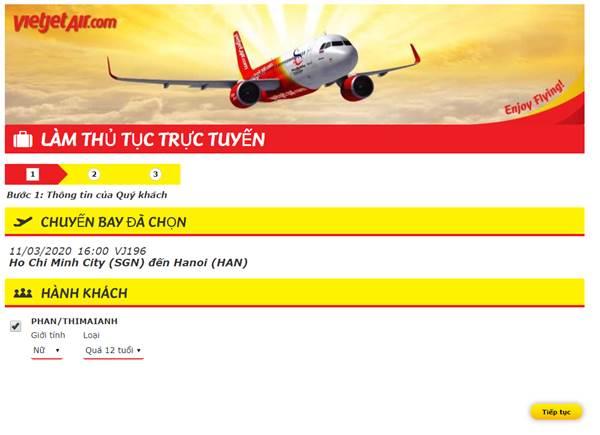 Check in oneline Vietjet Air - Làm thủ tục trực tuyến