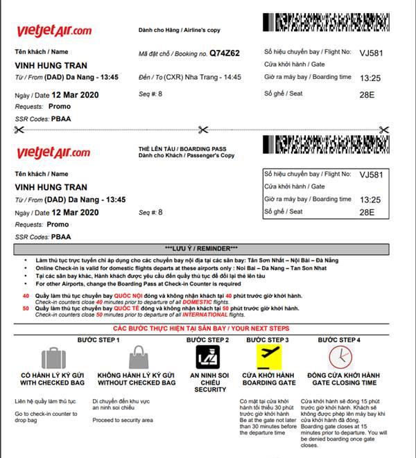 Thẻ lên máy bay Vietjet Air