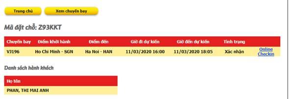 Check in Vietjet Air - Thông tin chuyến bay