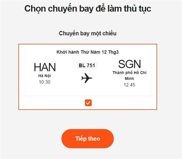 Check in trực tuyến Pacific Airlines - Chọn chuyến bay