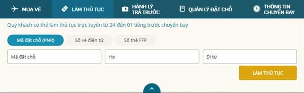 Check in Vietnam Airlines Tìm Mã đặt chỗ