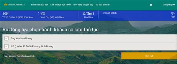 Làm thủ tục trực tuyến Vietnam Airlines - Chọn hành khách