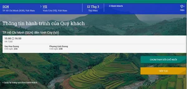 Check in Vietnam Airlines - Xác nhận hành trình
