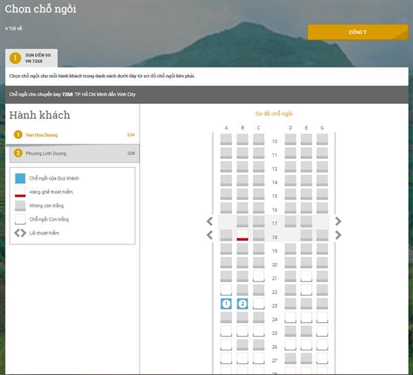 Check in Vietnam Airlines - Chọn chỗ ngồi