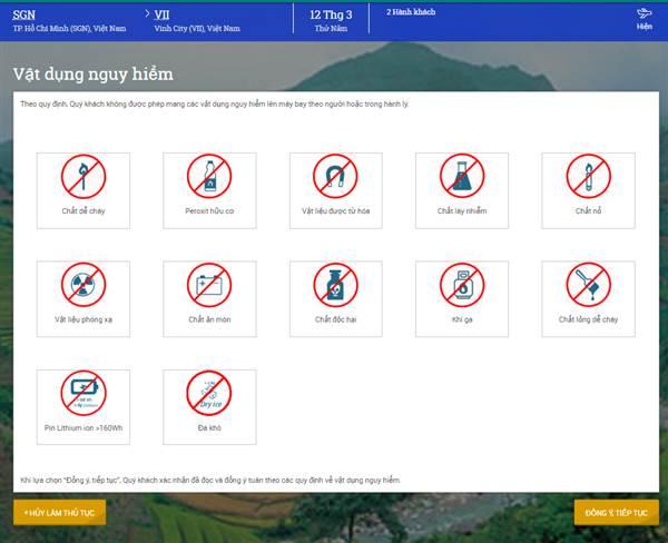 Check in Vietnam Airlines - Vật dụng nguy hiểm