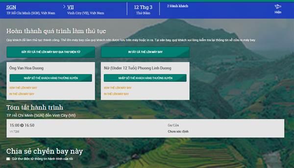 Check in Vietnam Airlines - Hoàn thành làm thủ tục