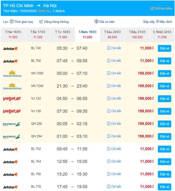 Vé máy bay siêu khuyến mại chỉ từ 11K