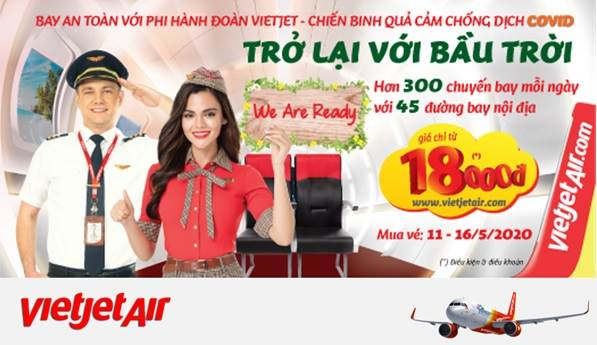 Vietjet Air khuyến mãi 3 triệu vé 18,000đ
